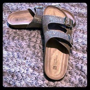 Gold shimmer footbed sandals